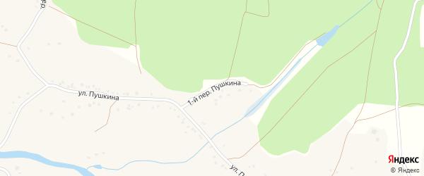 Переулок 1-й Пушкина на карте села Городища с номерами домов
