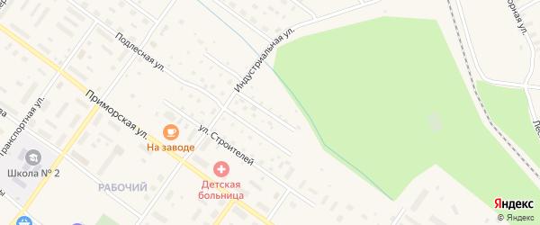 Улица Ударников на карте Онеги с номерами домов