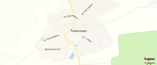 Карта села Тимоново в Белгородской области с улицами и номерами домов
