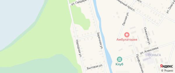 Коммунальная улица на карте Онеги с номерами домов