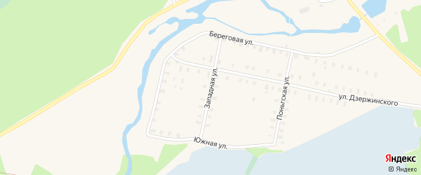 Западная улица на карте Онеги с номерами домов