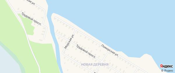 Поморская улица на карте железнодорожной станции Поньги с номерами домов