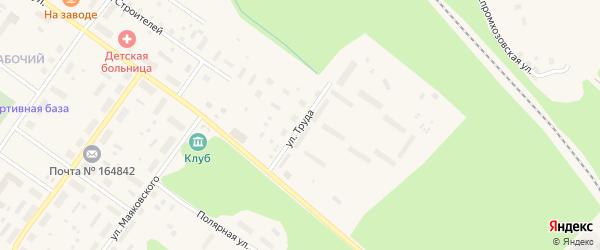 Улица Труда на карте Онеги с номерами домов