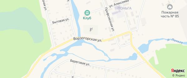 Ворзогорская улица на карте Онеги с номерами домов