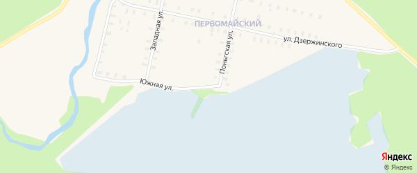 Южная улица на карте железнодорожной станции Поньги с номерами домов