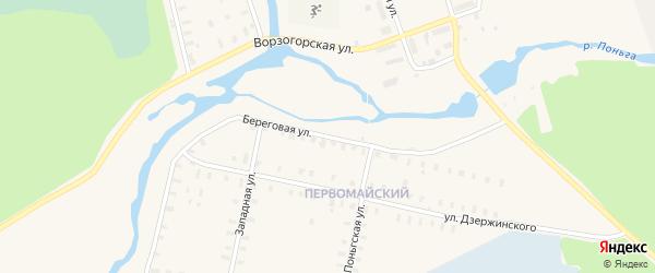 Береговая улица на карте Онеги с номерами домов