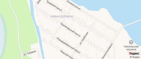 Пролетарский проспект на карте железнодорожной станции Поньги с номерами домов