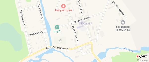 Профсоюзная улица на карте Онеги с номерами домов