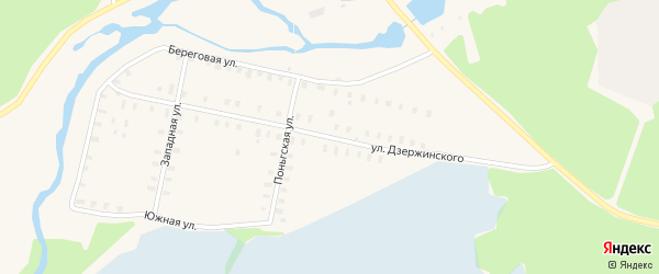 Улица Дзержинского на карте Онеги с номерами домов