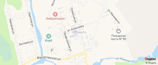 Онежская улица на карте железнодорожной станции Поньги с номерами домов