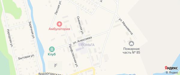 Улица Алексеева на карте Онеги с номерами домов