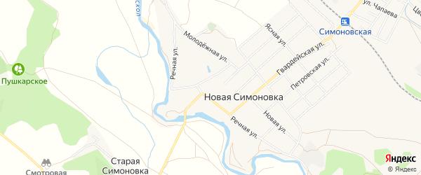 Карта села Новой Симоновки в Белгородской области с улицами и номерами домов