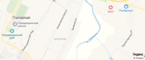 Зеленая улица на карте села Городища с номерами домов