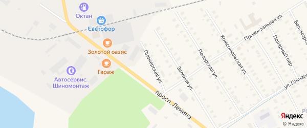 Пионерская улица на карте Онеги с номерами домов