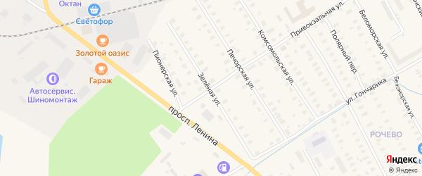 Зеленая улица на карте Онеги с номерами домов