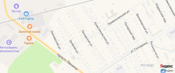 Печорская улица на карте Онеги с номерами домов