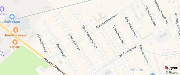 Комсомольская улица на карте Онеги с номерами домов
