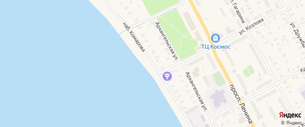 Набережная улица на карте Онеги с номерами домов