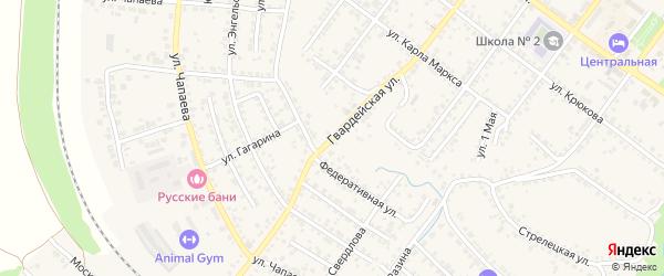 Гвардейская улица на карте села Новой Симоновки с номерами домов