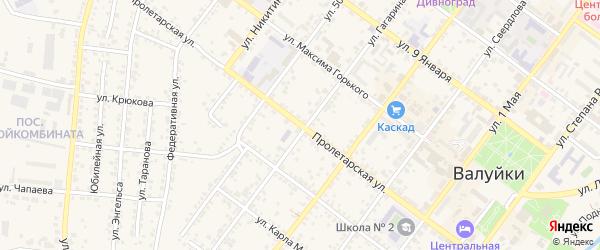 Пролетарская улица на карте Валуек с номерами домов