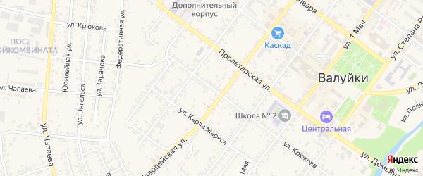 Улица Крюкова на карте Валуек с номерами домов