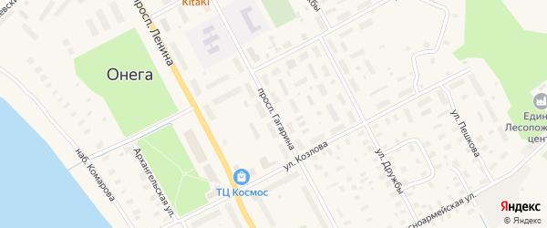 Проспект Гагарина на карте Онеги с номерами домов