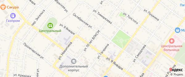 Улица 50 лет ВЛКСМ на карте Валуек с номерами домов
