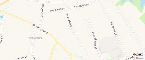 Улица Буденного на карте села Городища с номерами домов