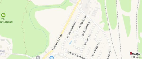 Улица Ворошилова на карте Валуек с номерами домов