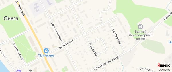 Улица Дружбы на карте Онеги с номерами домов