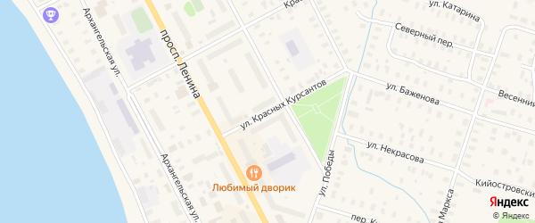 Улица Красных Курсантов на карте Онеги с номерами домов