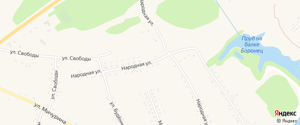 Народная улица на карте села Городища с номерами домов