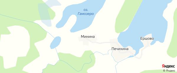 Карта деревни Мининой в Архангельской области с улицами и номерами домов