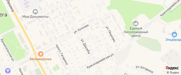 Квартальный переулок на карте Онеги с номерами домов