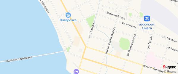 Карта поселка Ватеги города Онеги в Архангельской области с улицами и номерами домов