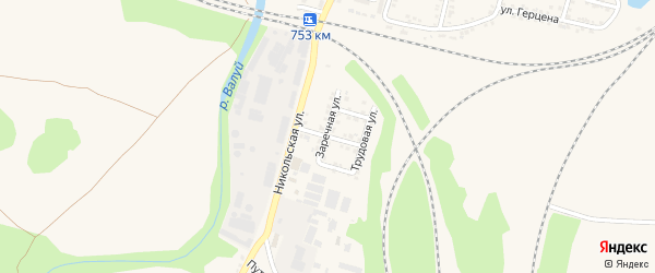 Мирная улица на карте Валуек с номерами домов