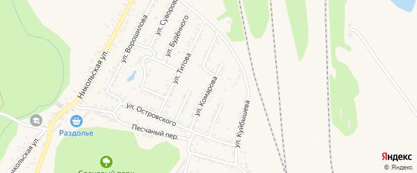Улица Комарова на карте Валуек с номерами домов