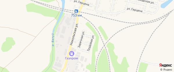 Заречный переулок на карте Валуек с номерами домов
