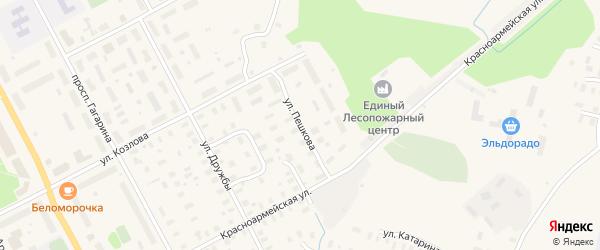 Улица Пешкова на карте Онеги с номерами домов