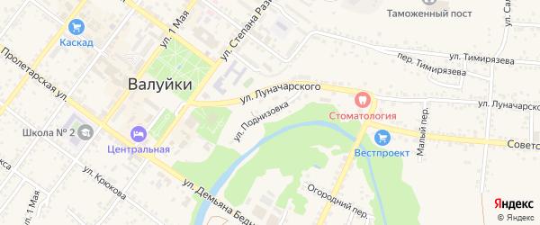 Улица Поднизовка на карте Валуек с номерами домов
