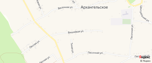 Вишневая улица на карте Архангельского села с номерами домов