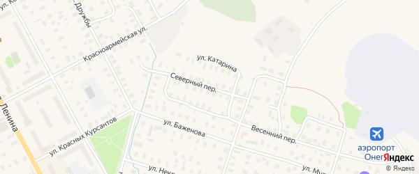 Северная улица на карте Онеги с номерами домов