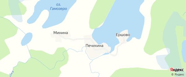 Карта деревни Печихиной в Архангельской области с улицами и номерами домов