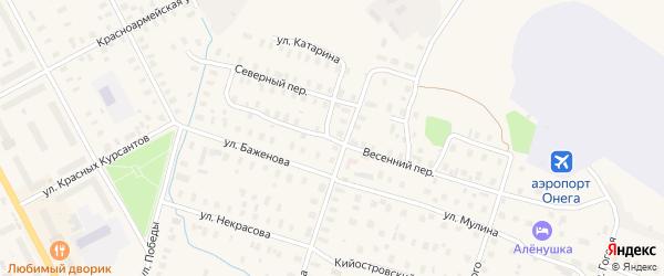 Весенний переулок на карте Онеги с номерами домов