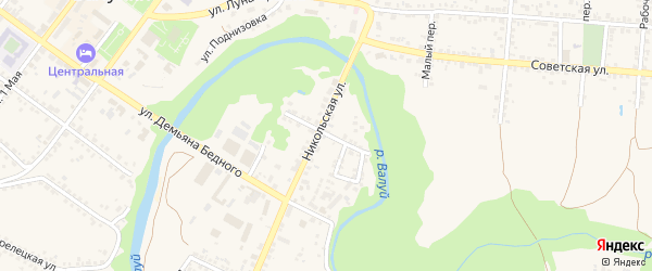 Огородний переулок на карте Валуек с номерами домов