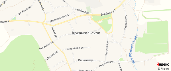 Карта Архангельского села в Белгородской области с улицами и номерами домов