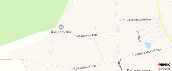1-й Садовый переулок на карте села Дмитриевки с номерами домов