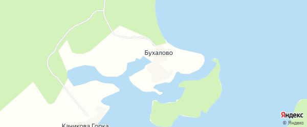 Карта деревни Бухалово в Архангельской области с улицами и номерами домов