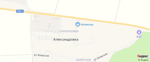 Улица Ветеранов на карте села Александровки с номерами домов
