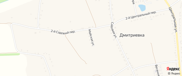 Майская улица на карте села Дмитриевки с номерами домов
